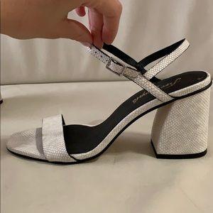 Free people white snakeprint heels